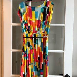 Fun color block dress with belt. Hi-Lo. Sz. M.